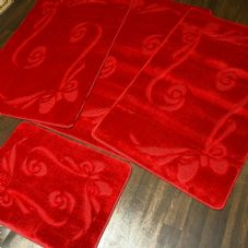 ROMANY MATS WASHABLES FULL SET MATS/RUGS NEW BOW REG SIZE NON SLIP CHRISTMAS RED